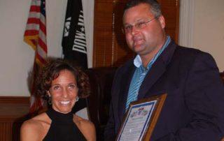Receiving an award for my work.